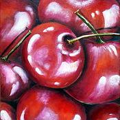 handmade. Livemaster - original item Interior painting still life Cherries Oil on canvas Large Red Cherries. Handmade.