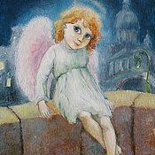 Открытки handmade. Livemaster - original item Angel and the City Card to the Birthday or Christmas. Handmade.