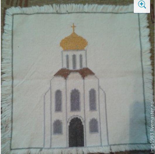 Картины цветов ручной работы. Ярмарка Мастеров - ручная работа. Купить Храм (вышивка - салфетка). Handmade. Вышивка крестом, вышивка