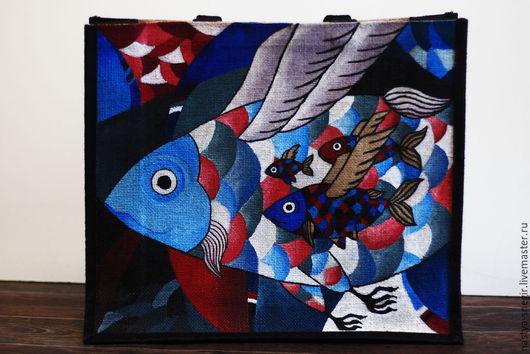 """Сумки и аксессуары ручной работы. Ярмарка Мастеров - ручная работа. Купить Эко-сумка для покупок """"Летучие рыбы"""". Handmade. Разноцветный"""
