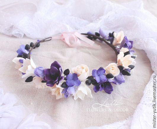 """Диадемы, обручи ручной работы. Ярмарка Мастеров - ручная работа. Купить Веночек на голову """"Purple"""" с цветами. Handmade. Сиреневый"""