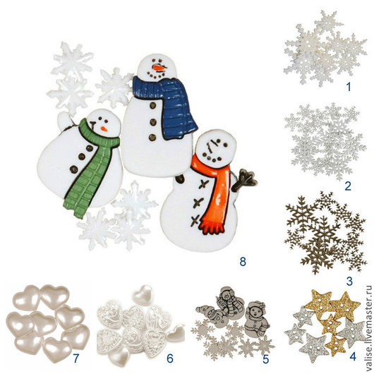 """Шитье ручной работы. Ярмарка Мастеров - ручная работа. Купить Пуговицы """"Новогодние"""". Handmade. Белый, пуговицы-снежинки, снежинка"""