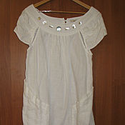 Винтаж handmade. Livemaster - original item Unusual white dress, linen dress, dress France. Handmade.