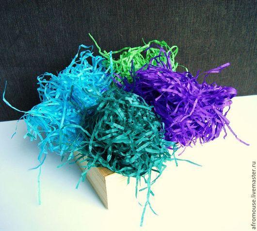 Наполнитель упаковочный бумажный.Палитра холодных оттенков -№3\r\nЧетыре цвета: фиолетовый, салатовый, голубой, морская волна.