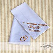 Аксессуары handmade. Livemaster - original item Handkerchiefs embroidered wedding Anniversary Gift. Handmade.