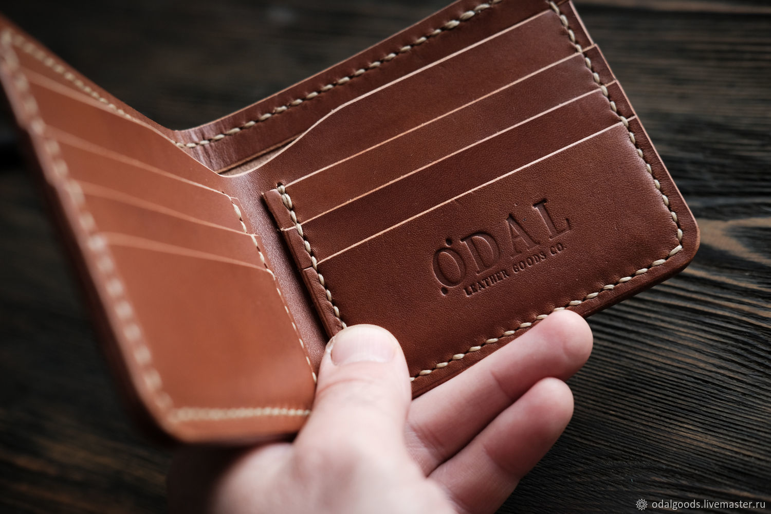 Men's wallet purse BIFOLD brown, Wallets, St. Petersburg,  Фото №1
