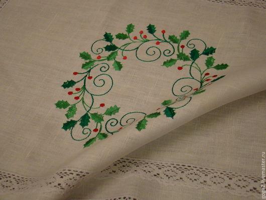 """Кухня ручной работы. Ярмарка Мастеров - ручная работа. Купить Салфетка """"Новогодний венок"""" машинная вышивка. Handmade. Белый"""