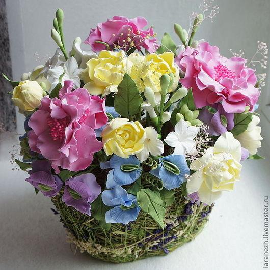 Интерьерные композиции ручной работы. Ярмарка Мастеров - ручная работа. Купить Интерьерная композиция с цветами в овальной корзине. Handmade. Розовый