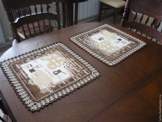 """Текстиль, ковры ручной работы. Ярмарка Мастеров - ручная работа. Купить Ланчмат, подтарельник, салфетка для сервировки """"Кофейный аромат"""". Handmade."""