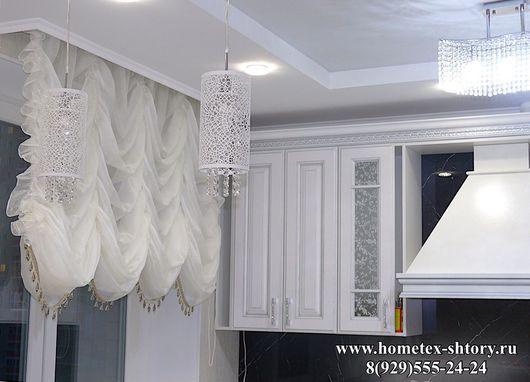 Французская штора из вуали молочного цвета, на шторной ленте, неподъемная, размер по ширине 160-200, по высоте 150-170, без карниза, без бахромы. Цена - 9500р. Карниз с подъемным механизмом от 3500р.