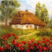 Картины и панно handmade. Livemaster - original item Picture from the wool House in the village. Poppies in bloom.. Handmade.