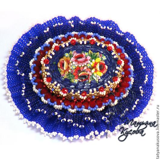 """Броши ручной работы. Ярмарка Мастеров - ручная работа. Купить Брошь """"Вальс цветов"""". Handmade. Синий, мозаика из стекла"""