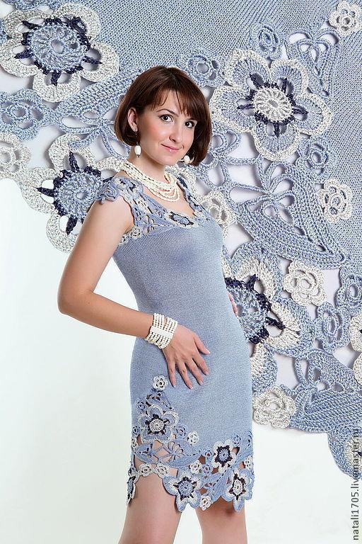 Платье Lady ЛЕТО. Сцепное гипюрное кружево в комбинации с машинным вязанием.
