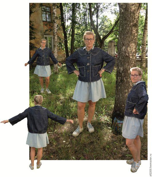 Верхняя одежда ручной работы. Ярмарка Мастеров - ручная работа. Купить Ветровка. Handmade. Синий, джинсовая ткань, большие размеры