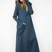 Одежда handmade. Livemaster - original item Stylish gray dress, Dark gray dress with hood - DR0076Ct. Handmade.
