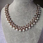 Украшения handmade. Livemaster - original item Snake necklace with pearls 3. Handmade.