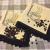 """Для дома и интерьера ручной работы. Ярмарка Мастеров - ручная работа Салфетка """" Чашка кофею"""". Handmade."""