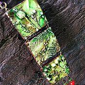 Украшения ручной работы. Ярмарка Мастеров - ручная работа зелёный кулон из полимерной глины ФЛОРА. Handmade.