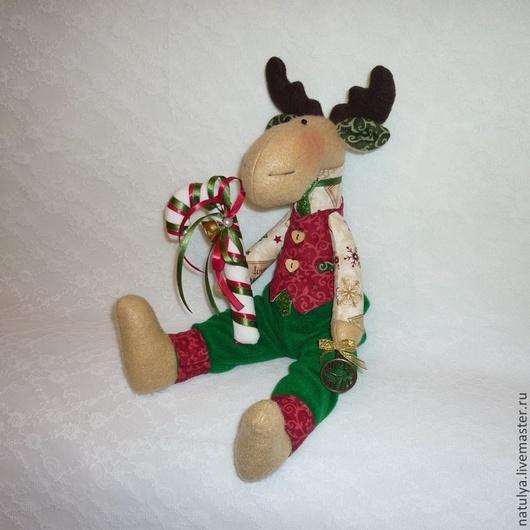 лось новогодние подарки тильда лось новогодние игрушки лось текстильный Новый год 2015 год козы год овцы год козы овцы бордовый зелёный