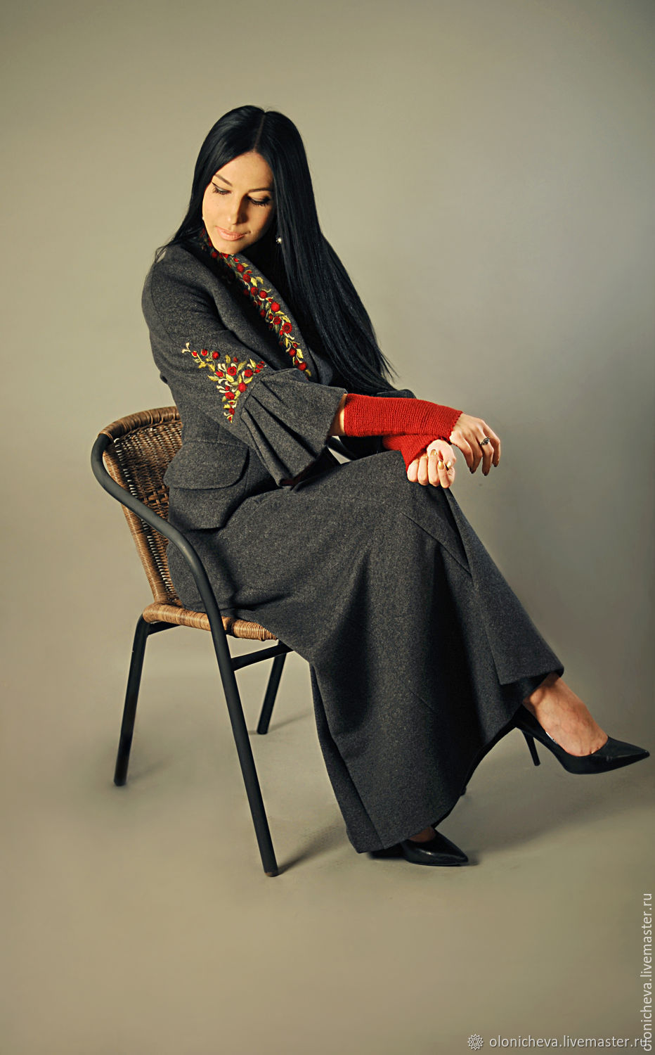 Costumes handmade. Livemaster - handmade. Buy Warm suit with embroidery 'Million scarlet roses'.Embroidery, women's costume