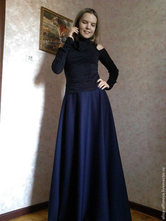"""Юбки ручной работы. Ярмарка Мастеров - ручная работа. Купить Юбка """"Юлия"""". Handmade. Тёмно-синий, юбка полусолнце"""