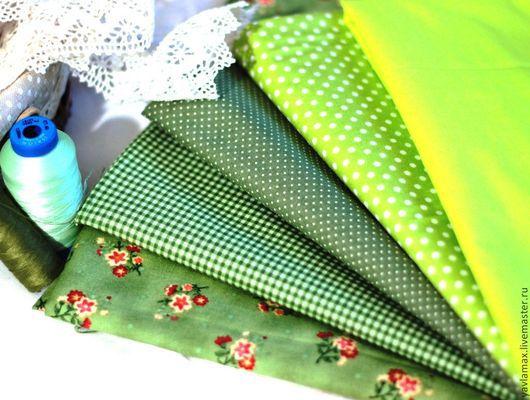 Шитье ручной работы. Ярмарка Мастеров - ручная работа. Купить Набор тканей для рукоделия Яркая Зелень. Handmade. Ткань для рукоделия