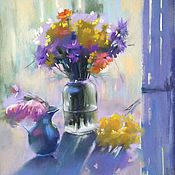 Картины и панно handmade. Livemaster - original item Painting in mixed technique Bouquet of wild flowers (purple yellow). Handmade.
