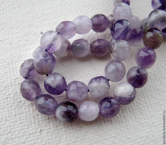 Бусины Аметист натуральный камень ,сфера, фиолетовый, 8 мм  6 мм 4 мм