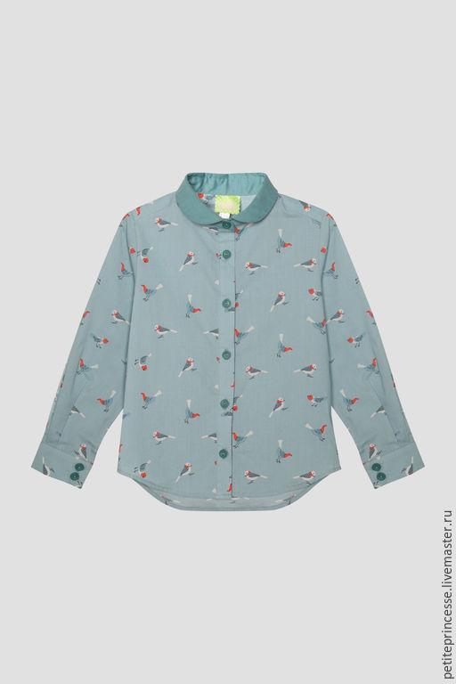Одежда для девочек, ручной работы. Ярмарка Мастеров - ручная работа. Купить рубашка Птички. Handmade. Бирюзовый, рубашка из хлопка, птица