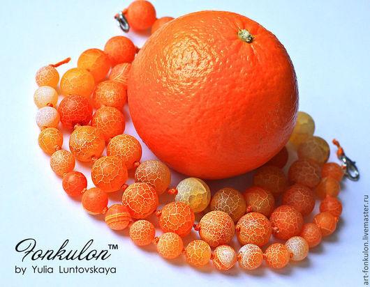 Для украшений ручной работы. Ярмарка Мастеров - ручная работа. Купить Агат Матовый кракле оранжевый Мандарин 10мм 12мм 14мм Гладкий. Handmade.