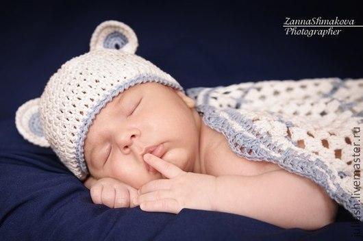 """Для новорожденных, ручной работы. Ярмарка Мастеров - ручная работа. Купить шапочка """"Мишка на севере"""". Handmade. Белый, плед крючком"""