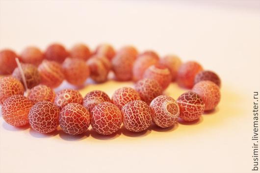 Агат африканский, цвет - жженый сахар, матовые бусины кракле. Бусины агата 10 мм. Агат для создания украшений. Busimir