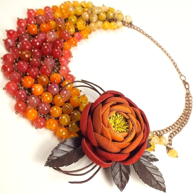 Jewelry Sets handmade. Livemaster - handmade. Buy Ardent Study. Necklace and brooch - flower is made of genuine leather.