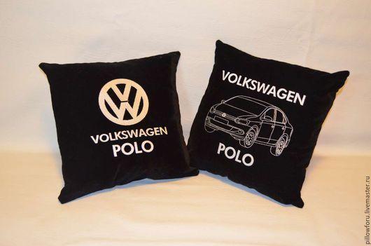 Автомобильные декоративные подушки с любой вышивкой на заказ. Подушки с двухсторонней вышивкой.