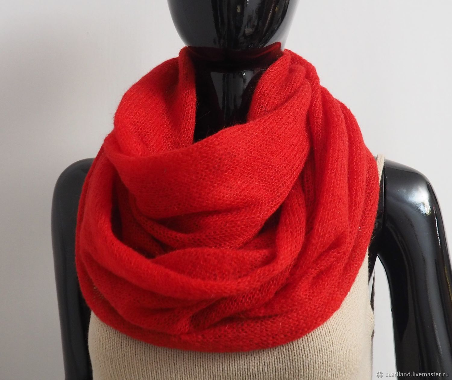 Snood knitted 2 turns of kid mohair red, Snudy1, Cheboksary,  Фото №1