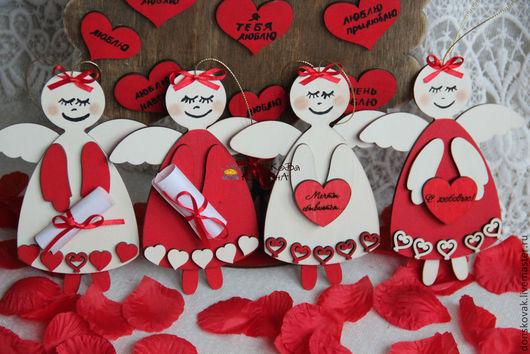 Подарки для влюбленных ручной работы. Ярмарка Мастеров - ручная работа. Купить Ангелы Любви. Handmade. Ярко-красный, сердечный подарок