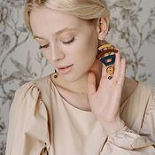 Украшения handmade. Livemaster - original item Asymmetrical earrings are made of solid wood with gold and black pearls. Handmade.