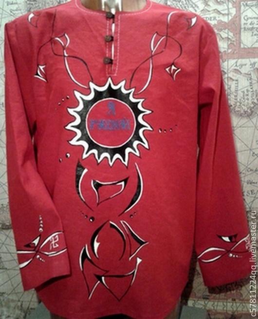 """Для мужчин, ручной работы. Ярмарка Мастеров - ручная работа. Купить Рубаха """"Красный Восход"""". Handmade. Ярко-красный, рубашка"""