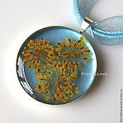 Украшения handmade. Livemaster - original item Blue pendant with yellow flowers. Handmade.