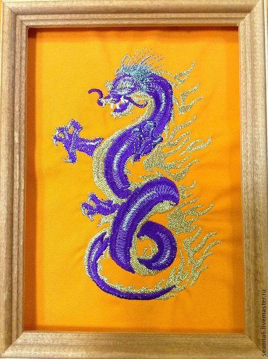 """Фэнтези ручной работы. Ярмарка Мастеров - ручная работа. Купить Вышитая картина """"Китайский Дракон"""" в любом цвете и размере картина. Handmade."""