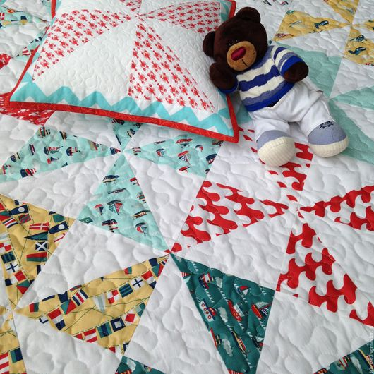 Пледы и одеяла ручной работы. Ярмарка Мастеров - ручная работа. Купить БРИГАНТИНА  детский лоскутный плед, пэчворк. Handmade. Море