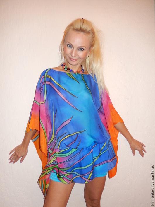 Блузки ручной работы. Ярмарка Мастеров - ручная работа. Купить блуза-туника- Яркие тропики. Handmade. Батик, блузка