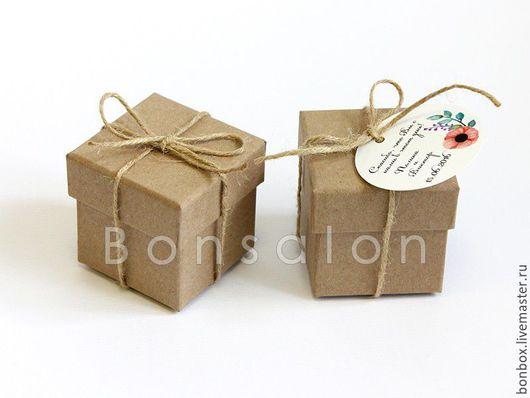 Упаковка ручной работы. Ярмарка Мастеров - ручная работа. Купить Коробочка из плотного картона, Бонбоньерка 5х5х5 см. из крафта. Handmade.