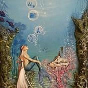 Картины и панно handmade. Livemaster - original item Author`s voluminous picture of the Dreamy little mermaid.. Handmade.