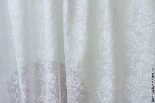 Шитье ручной работы. Ярмарка Мастеров - ручная работа. Купить Лен вуаль-розы на белом фоне. Handmade. Бежевый, шитье