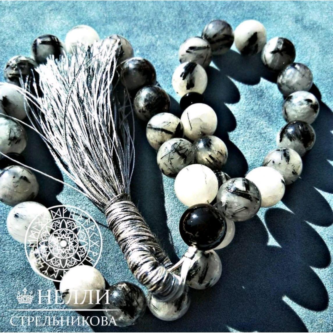 """Rosary handmade. Livemaster - handmade. Buy Обережные чётки из кварца""""Волос Венеры"""" с кисточкой.Rosary, 8 march gift"""