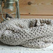 Аксессуары handmade. Livemaster - original item Beige women`s fashion knitted men`s scarf Snood. Handmade.