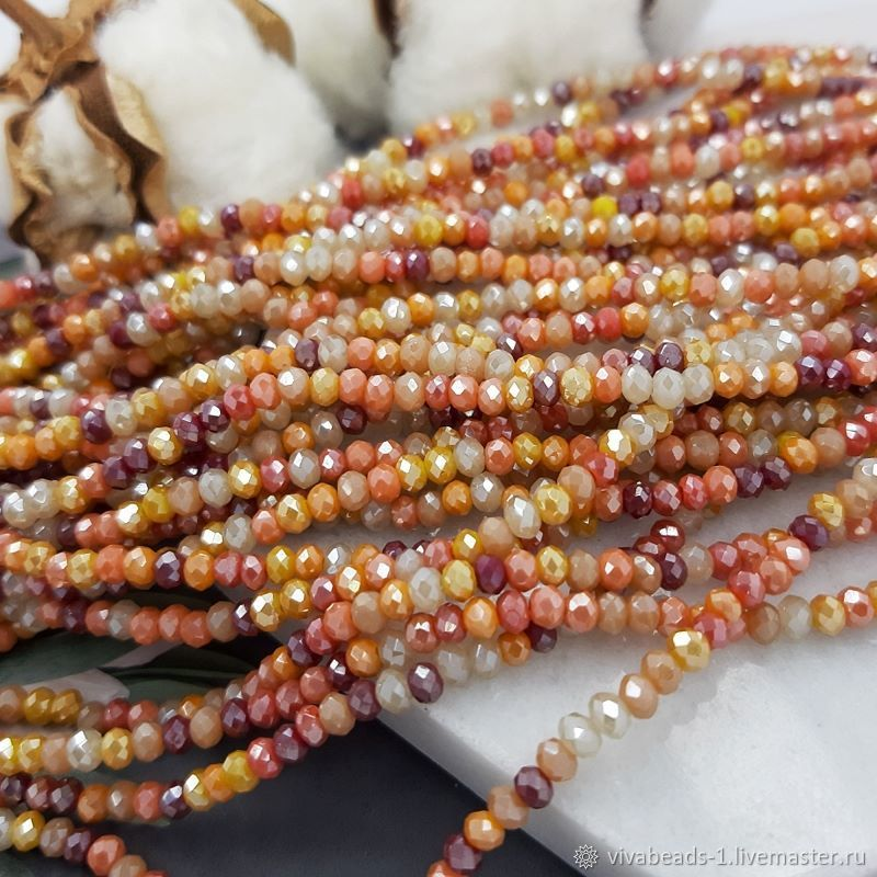 1/2 thread Faceted Rondel approx. 3x2.5. 4779 mm Mix Colors (), Beads1, Voronezh,  Фото №1