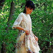 Платья ручной работы. Ярмарка Мастеров - ручная работа Платье летнее в стиле БОХО из льна и хлопка (29). Handmade.