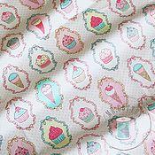 Материалы для творчества ручной работы. Ярмарка Мастеров - ручная работа Ткань с пирожными. Для сладких малышей. 0,5 м. Handmade.